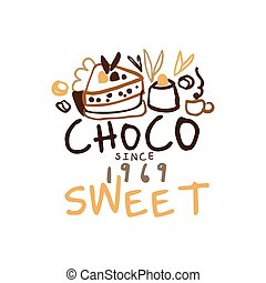 Sweet choco label since 1969, hand drawn vector...