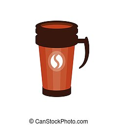 Takeout coffee in a brown thermo cup vector Illustration