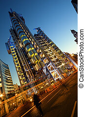 The Lloyds building  at night.