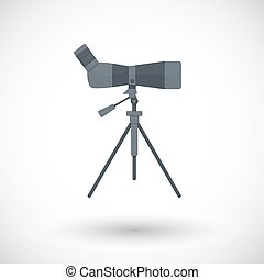 Bird watching monocular on tripod flat vector icon, flat...