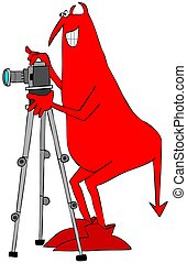 Red devil taking a photograph
