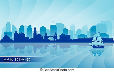 San Diego city skyline silhouette background