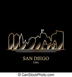 Gold silhouette of San Diego on black background, vector...