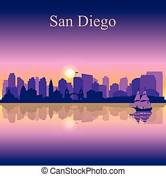 San Diego silhouette on sunset background, vector...