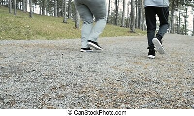 Fitness trainer in park running with attractive overweight...