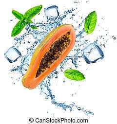 Fresh papaya with water splash on white.