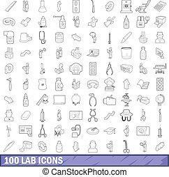 100 lab icons set, outline style