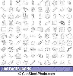 100 fact icons set, outline style