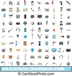 100 electrical engineering icons set, cartoon