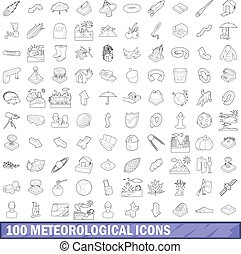 100 meteorological icons set, outline style - 100...