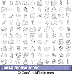 100 municipal icons set, outline style - 100 municipal icons...
