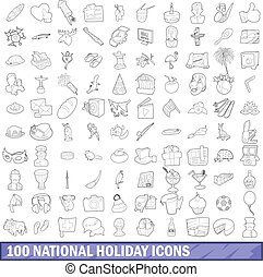 100 national holiday icons set, outline style - 100 national...