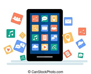 Black tablet with cloud of application icons and Apps icons flying around them, isolated on White background