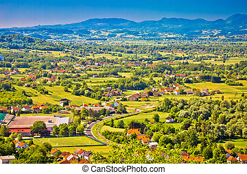 River Sutla valley aerial view in Croatia and Slovenia...
