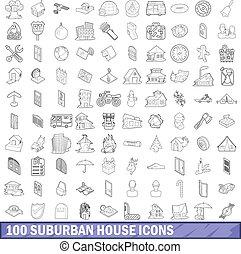 100 suburban house icons set, outline style - 100 suburban...