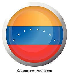 Isolated flag of Venezuela on a button, Vector illustration