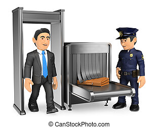 3D Businessman at airport police check