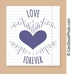 Love forever poster on linear page, vector illustration