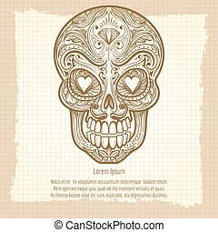 Mexican decorative skull on vintage background, vector...