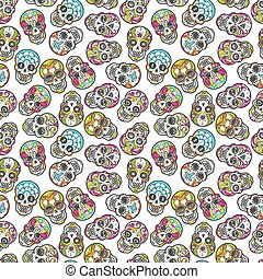 Colorful mexican sugar skull seamless pattern, vector...