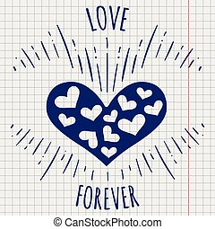 Pen love forever poster with heart - Ballpoint pen drawing...