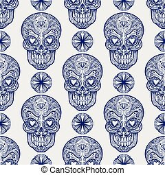 Mexican skull and diamonds seamless pattern - Mexican sugar...