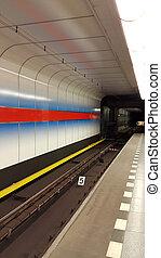 Interior of underground metro station in Prague, Czech...