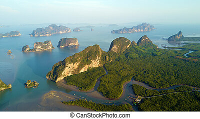 Aerial view of Phang Nga bay - Aerial view of the Phang Nga...