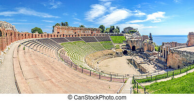 The ancient Greek Theater of Taormina in Sicily - The...
