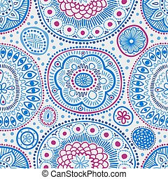 Seamless pattern. Seamless botanic texture, detailed dots and circles illustrations. Ethnic pattern in doodle style, summer floral background. All elements are not cropped and hidden under mask.