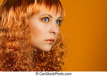 ginger hair color - Beauty portrait of woman with ginger...