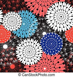 Bright graphic pattern of dandelions and circles - Seamless...