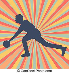 Man bowling player vector abstract background