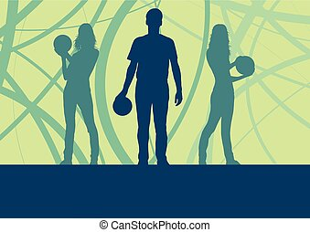 Man and woman bowling player vector abstract background