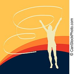 Gymnast ribbon female dance vector background