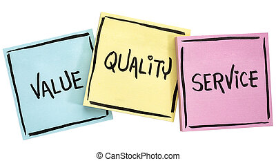 values, quality and service motto - handwriting in black ink...