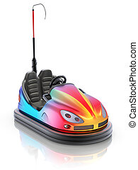 Colorful electric bumper car over white reflective...