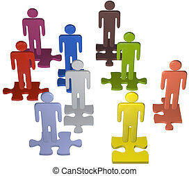Diverse people team stand on puzzle pieces solution - Human...