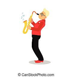 Young man playing sax cartoon character, saxophone player vector Illustration