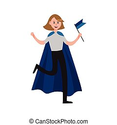 Smiling sports fan girl wearing blue cape supporting her team with a blue flag cartoon character vector Illustration