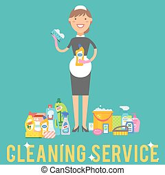 Cleanser woman chemical housework product care wash...