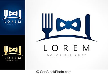 cutlery and bow tie. business lunch logo. - cutlery and bow...