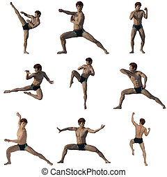 Fighter pose set 1 rendering 3d isolated
