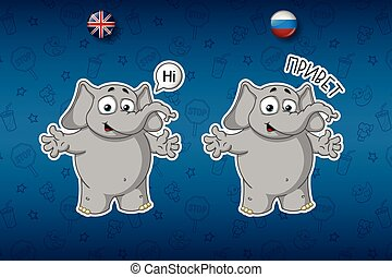 Stickers elephants. Hi, says hello. Big set of stickers in English and Russian languages. Vector, cartoon