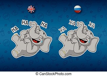Stickers elephants. Laughs holding her stomach. Big set of...