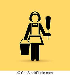 Charwoman maid icon - Charwoman maid vector icon