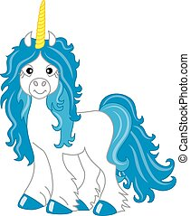 Vector Cute Unicorn with Blue Mane. Unicorn Vector Illustration.