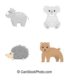 Rhino, koala, panther, hedgehog.Animal set collection icons in cartoon style raster,bitmap symbol stock illustration web.