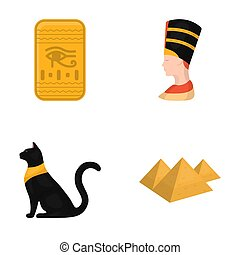 Eye of Horus, black Egyptian cat, pyramids, head of Nefertiti.Ancient Egypt set collection icons in cartoon style raster,bitmap symbol stock illustration web.