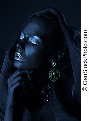 body painting black - Beautiful young woman with perfect...